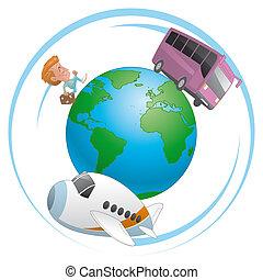 Traveler, airplane and bus  traveling around the world