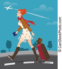 Illustration of traveling woman holding passport