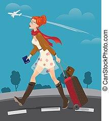 Illustration of traveling woman holding passport