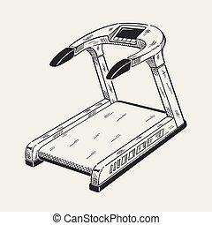 Illustration of treadmill. Sports equipment, fitness simulator.