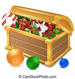 treasure chest full of christmas goodies - illustration of ...