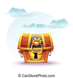 treasure chest on a background of clouds