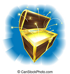 Illustration of treasure chest with sparks flying -...