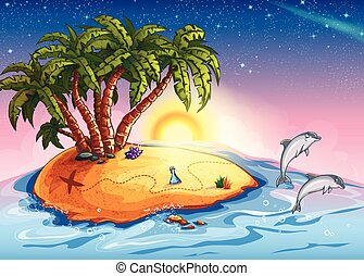 Illustration of Treasure Island in the ocean and dolphins