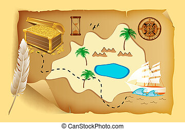 treasure map - illustration of treasure map