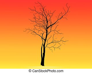 Illustration of tree silhouette-Vector illustration