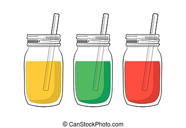 Illustration of tree smoothie jars isolated on white...