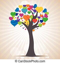 illustration of tree with heart leaves on sunburst background