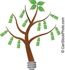tree with light bulb