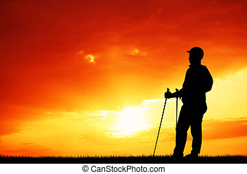 trekking silhouette at sunset - illustration of trekking...