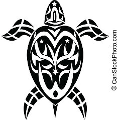 illustration of tribal tattoo turtle