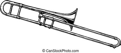 illustration of trombone - Vector hand drawn illustration of...