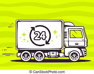 illustration of truck free and fast delivering 24 hours t