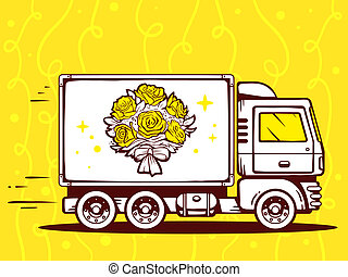 illustration of truck free and fast delivering bouquet of