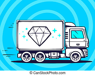 illustration of truck free and fast delivering diamond to