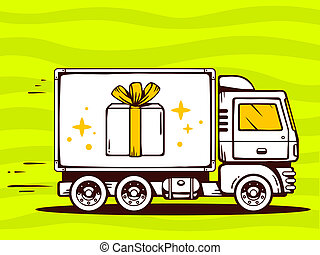 illustration of truck free and fast delivering gift box t