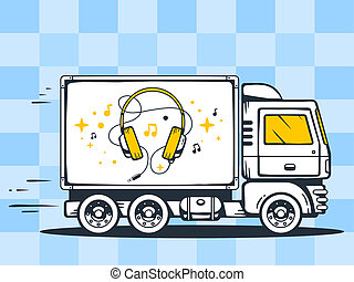 illustration of truck free and fast delivering headphones