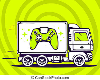 illustration of truck free and fast delivering joystick t