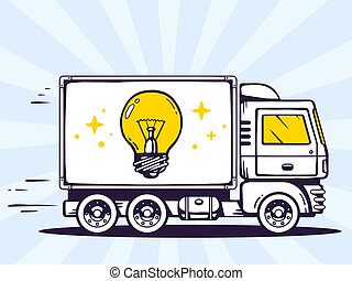 illustration of truck free and fast delivering light bulb