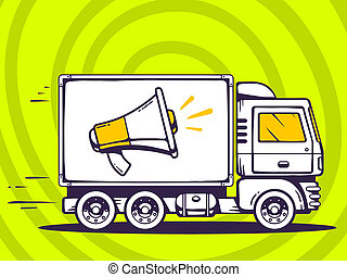 illustration of truck free and fast delivering megaphone