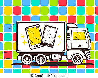 illustration of truck free and fast delivering phone to c