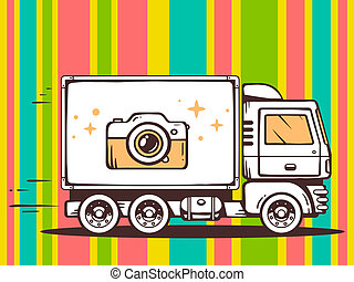 illustration of truck free and fast delivering photo came