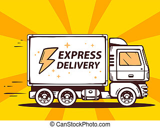 illustration of truck free and fast express delivering to
