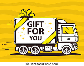 illustration of truck free and fast delivering gift to...