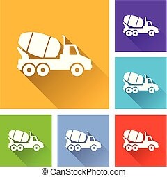 truck icons with long shadow