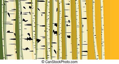 Illustration of trunks birches. - Vector illustration of...