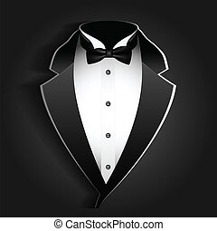 tuxedo - Illustration of tuxedo with bow tie on a black...