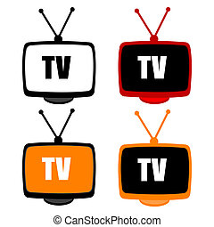 tv icons - illustration of tv icons on white background