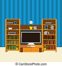 Illustration of TV room