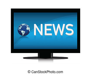 illustration of TV showing NEWS on
