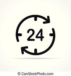 twenty four hours icon concept - Illustration of twenty four...