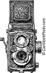 illustration of twin-lens reflex camera - Vector hand drawn ...