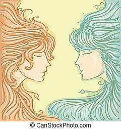 Gemini - Illustration of Twins for Gemini Design