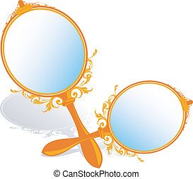 mirrors	 - Illustration of two antique mirrors
