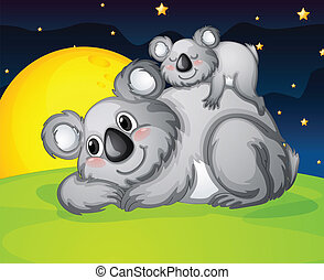 two bears resting - illustration of two bears resting in the...