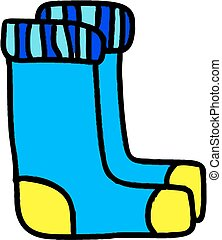 Illustration of two blue socks on white background