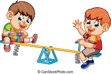 Two boy playing on seesaw