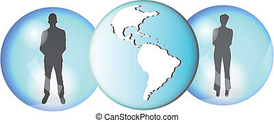 Illustration of two business people connected with earth globe