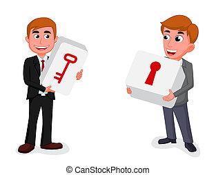 two businessman hold a key and keyhole