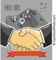 Illustration of two businessmen shaking hands. success