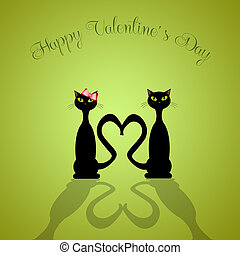 illustration of two cats in love for Valentine's Day