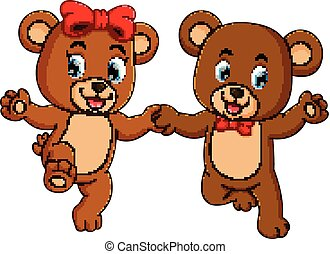 two cute bears holding each hands with the happy faces