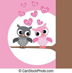 two cute owls in love - illustration of two cute owls in ...