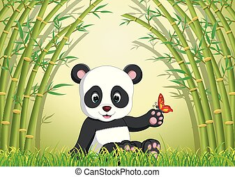 two cute panda in a bamboo forest
