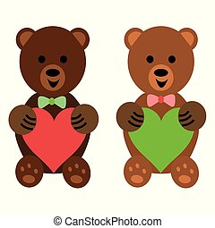 Illustration of two cute teddy bears holding hearts