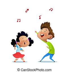Illustration of two dancing kids.